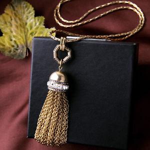 【送料無料】アクセサリー ネックレス ペンダントネックレスアールデコビンテージクラスネックレスcollana lungo dorato pav collana pendente pompon art deco vintage class ddz 1