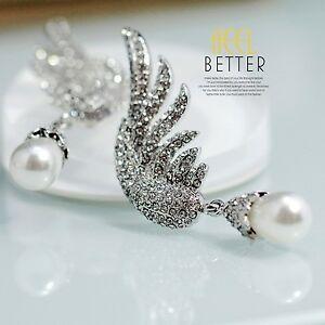 【送料無料】アクセサリー ネックレス イヤリングファッションシルバーピンアラモパールホワイトクリスタルorecchini moda grandi a perno argentato ala perla pera bianco cristallo yw1