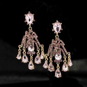 【送料無料】アクセサリー ネックレス ゴールデングリッパーアールデコキャンドルスティックライトピンクイヤリングクリップorecchini clip on pinza dorato art deco candeliere rosa chiaro matrimonio yw8