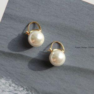 【送料無料】アクセサリー ネックレス イヤリングホワイトパールクラスorecchini dormeuse dorato grandi perla bianco 14mm class placcato oro qd4