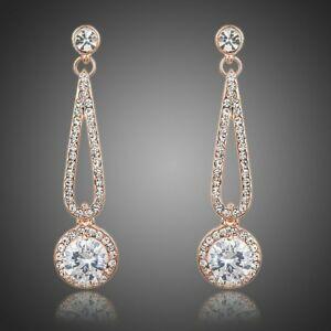 【送料無料】アクセサリー ネックレス con zirconi cubici in oro rosa orecchini pendenti per donne ragazze donna mje0167