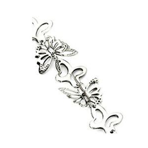 【送料無料】アクセサリー ネックレス スロットルカフシルバーステンレススチールbracciale farfalla 3d argento in acciaio inox da donna donne bff amica friends