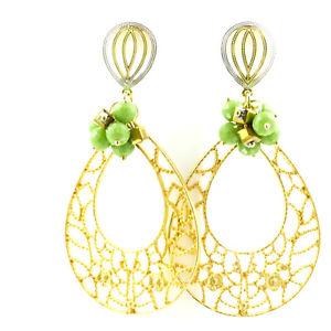 【送料無料】アクセサリー ネックレス コスチュームジュエリーイヤリングピンゴールデンイエローレビーbigiotteria orecchini a perno oro dorato con perla verde, di catia levy