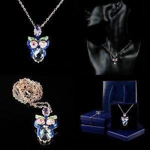 【送料無料】 【送料無料】アクセサリー ネックレス フクロウネックレスクリスタルローズcollana donna a pendente gufo blu colore oro rose 18 kt cristallo regalo, はいて屋 4011ff01