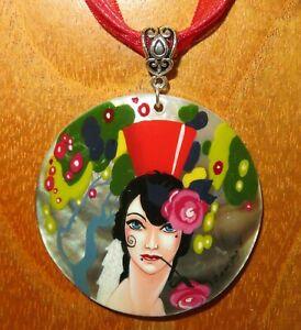 【送料無料】アクセサリー ネックレス シェルペンダントレディローズジプシーshell pendant genuine hand painted umberto brunelleschi lady amp; rose gipsy girl