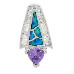 【送料無料】アクセサリー ネックレス スターリングシルバーオパールネックレスカットargento sterling opale ciondolo con trasparente amp; 8mm trillion taglio