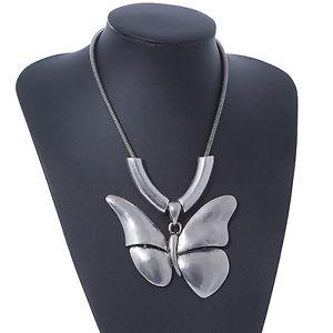 【送料無料】アクセサリー ネックレス ソリッドネックレスペンダントgrande solido collana con ciondolo a farfalla in argento placcato 38cm lunghezza7cm ex