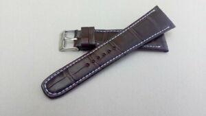 【送料無料】アクセサリー ネックレス ブレスレットクロノワニマロンbracelet montre chrono en crocodile marron couture blanche disponible 18 26mm