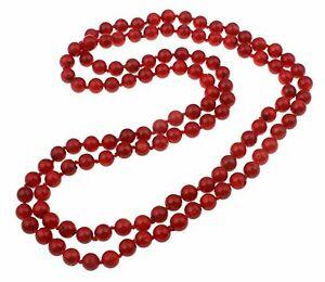 【送料無料】アクセサリー ネックレス ネックレス5in 1 8mm round rosso corallo collana lunghezza 160cm