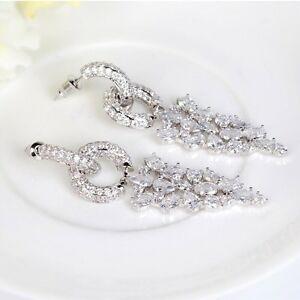 【送料無料】アクセサリー ネックレス ファッションデザイナーマイクロホワイトクリアイヤリングdesigner moda micro pave chiaro bianco autentico zirconi orecchini da sposa