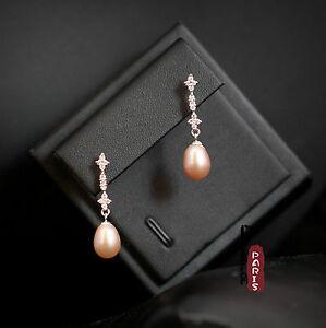 【送料無料】アクセサリー ネックレス パールピンクドロップソリッドシルバーイヤリングorecchini madreperla perle coltivazione goccia rosa argento massiccio 925