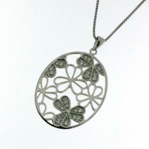 【送料無料】アクセサリー ネックレス ペンダントシルバーネックレスciondolo ovale fiori vero argento 925 con collana