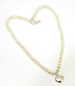 【送料無料】アクセサリー ネックレス スターリングシルバーペンダントハートインチパールネックレスtoc argento sterling 16 pollici collana di perle con ciondolo cuore siato