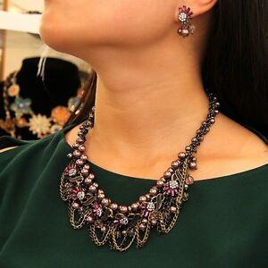 【送料無料】アクセサリー ネックレス コリアーブレスレットバックparure collier bracelet boucles doreilles perle violette retro cadeau qt 5