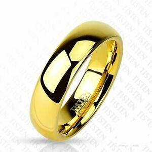 【送料無料】アクセサリー ネックレス チタンゴールドリングtitanio wolfram anello in oro 6 mm larghezza lucido 47 15 66 21