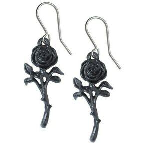 【送料無料】アクセサリー ネックレス ブラックローズイヤリングロマンスフックゴシックthe romance of the nero orecchini rose pendente ganci alchemy gothic e421 nuova