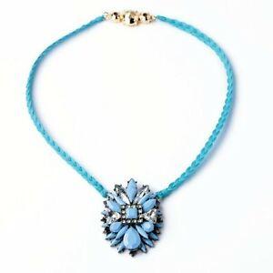 【送料無料】アクセサリー ネックレス ペンダントネックレスフラワーコードクラフトオリジナルcollana pendente grossa fiore cordoncino tessitura artigianale blu originale