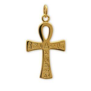 【送料無料】アクセサリー ネックレス クロワドヴィークロイcroix de vie plaqu or grave hiroglyphes, nkh, croix gyptienne