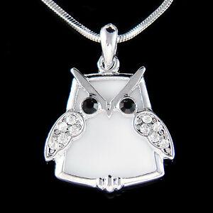 【送料無料】アクセサリー ネックレス スワロフスキークリスタルアッセイホークフクロウ~ bianco snowy owl ~ fatto con swarovski cristallo saggio hawk wisdom uccello