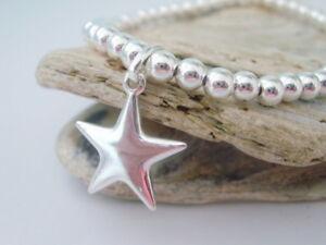 【送料無料】アクセサリー ネックレス スタービーズブレスレットスタッキングストレッチargento sterling charm stella di perline braccialetto, regalo per le donne, impilamento, stretch