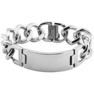 【送料無料】アクセサリー ネックレス カフブレスレットステンレスステンレスシルバーgrande bracciale cinturino acciaio inossidabile argento inox incl incisione 23