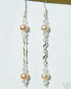 【送料無料】アクセサリー ネックレス スワロフスキークリスタルイヤリングswarovski cristallo sposa nuziale pesca perla orecchini argento sterling