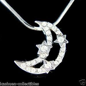 【送料無料】アクセサリー ネックレス スワロフスキークリスタルペンダントネックレスswarovski cristallo make wish wishing star crescent moon ciondolo collana