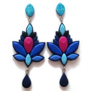 【送料無料】アクセサリー ネックレス ブロックカラーイヤリングファッションbig fatto a mano colore blocco blu navy geometrico prom dichiarazione orecchini fashion