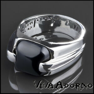 【送料無料】アクセサリー ネックレス ステンレススチールゴシックオニキスリングkoolkatana anello in acciaio inox onice gotico motociclista nero donna rs44