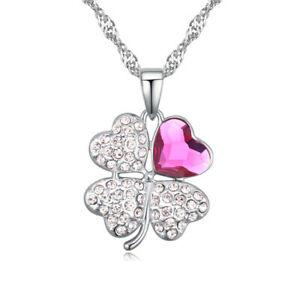 【送料無料】アクセサリー ネックレス ピンクチェーンシルバーcatena quadrifoglio argento in ottone da donna donne ragazza portafortuna cristallo rosa
