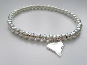 【送料無料】アクセサリー ネックレス ブレスレットスターリングシルバービーズビーズストレッチheart charm bracelet, sterling silver beaded, 4mm beads, stretch, gift for woman