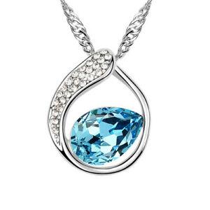 【送料無料】アクセサリー ネックレス チェーンネックレスペンダントcatena tear ottone argento da donna donne collana cristallo blu ciondolo aperto