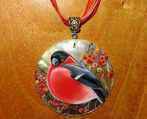 【送料無料】アクセサリー ネックレス シェルペンダントユーラシアウソオリジナルロシアguscio ciondolo ciuffolotto garden bird gorbachova regalo originale russo dipinto a mano