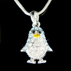 【送料無料】アクセサリー ネックレス スワロフスキークリスタルアクアペンギンネックレスswarovski cristallo aqua emperor pinguino ~ antarctica collana nuovo