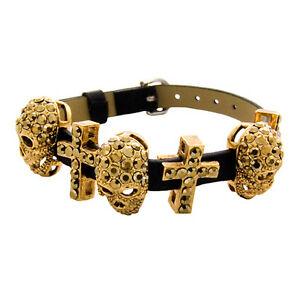 【送料無料】アクセサリー ネックレス バトラーウィルソンゴールドスモールスカルクロスブレスレットbutler e wilson gold piccolo teschio croce braccialetto nuovo