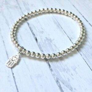 【送料無料】アクセサリー ネックレス ブレスレットビーズストレッチargento sterling charm hamsa braccialetto 4mm perline, stretch, boho, regalo per le donne