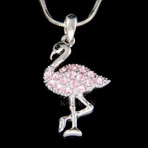 【送料無料】アクセサリー ネックレス ピンクフラミンゴスワロフスキークリスタルペンダントネックレス~ fenicottero rosa uccello fatto con swarovski cristallo ciondolo 18 collana