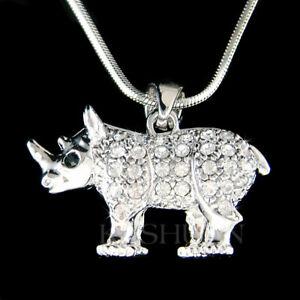 【送料無料】アクセサリー ネックレス サイスワロフスキーネックレスクリスタル~ 3d rinoceronte ~ cristallo swarovski animali via estinzione 18 collana