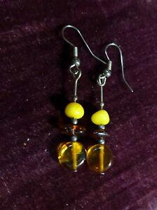 【送料無料】アクセサリー ネックレス ビンテージコニャックバルトイヤリングvintage giallo duova, cognac, miele baltic amber orecchini