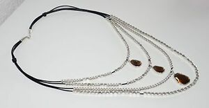 【送料無料】アクセサリー ネックレス クリスタルmltipla collare del cuoio e cristallo, fatto mano , un diverso di