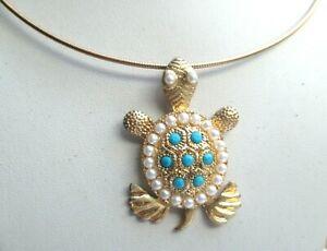 【送料無料】アクセサリー ネックレス ターコイズビンテージrare collier rigide couleur or pendentif tortue perles turquoise bijou vintage p