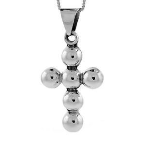 【送料無料】アクセサリー ネックレス グラムペンダントクロスビーズ9 grammi argento sterling perline pendente a croce