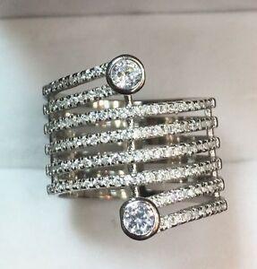 【送料無料】アクセサリー ネックレス シルバースターリングラウンドロールkホワイトゴールドnuova 14k oro bianco su argento sterling 8 rotolo rotondo cz grande anello