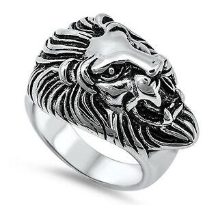 【送料無料】アクセサリー ネックレス ジャングルステンレススチールリングキングサイズuomo leone s testa king of the jungle acciaio inox motociclista anello sizes