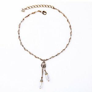 【送料無料】アクセサリー ネックレス ネックレスペンダントシンビンテージドロップcollana dorato pendente goccia perl sottile vintage matrimonio cso 3