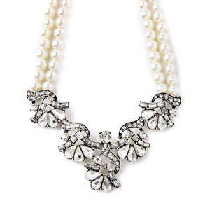 【送料無料】アクセサリー ネックレス シルバーネックレスアールデコネックレスビンテージcollana argentato art deco cristallo matrimonio due collana perla vintage