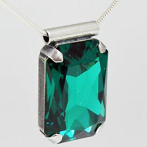 【送料無料】アクセサリー ネックレス シルバートレーラースワロフスキークリスタルチェーンネックレスエメラルドグリーンcatena collana argento 925 rimorchio cristallo swarovski rettangolo emerald verde