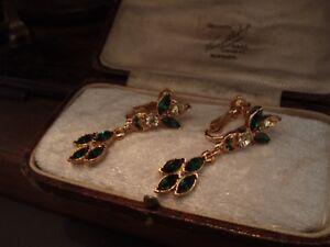 【送料無料】アクセサリー ネックレス ビンテージエメラルドグリーンクリスタルドロップイヤリングクリップオンvintage verde smeraldo amp; jonquil marquise cristallo goccia orecchini a clipon