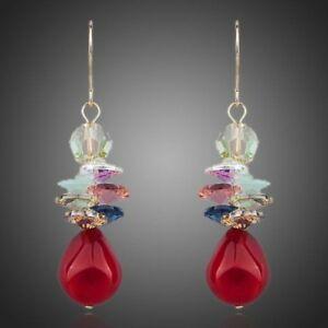 【送料無料】アクセサリー ネックレス クラスタイヤリングペンダントrosso sangue cluster orecchini pendenti per le donne signore ragazze mje0084