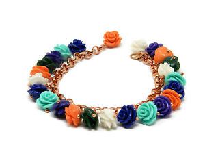 【送料無料】アクセサリー ネックレス マルチカラーバラブレスレットbracciale charms con roselline di resina multicolore